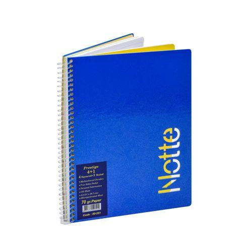 Registru Notte, A4, cu spira, 125 file, 4 diviziuni matematica si 1 diviziune dictando
