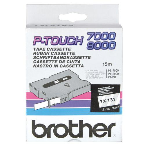 Banda Brother TX-131, 12 mm x 15 m, negru/transparent