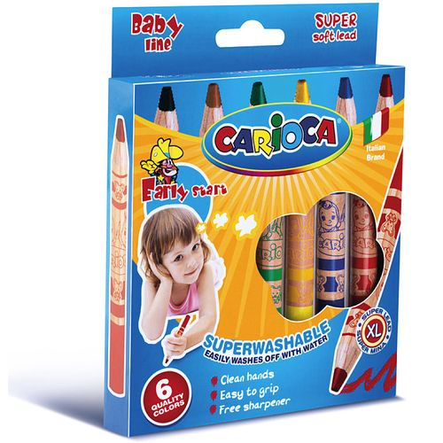 Set creioane cerate Carioca Baby Jumbo si ascutitoare, 6 bucati