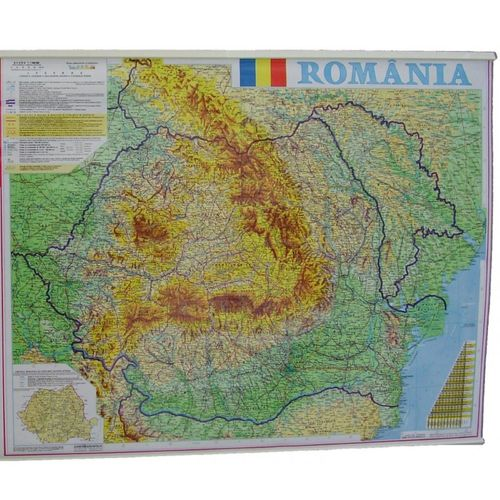 Harta Romania fizico-geografica, 70 x 90 cm
