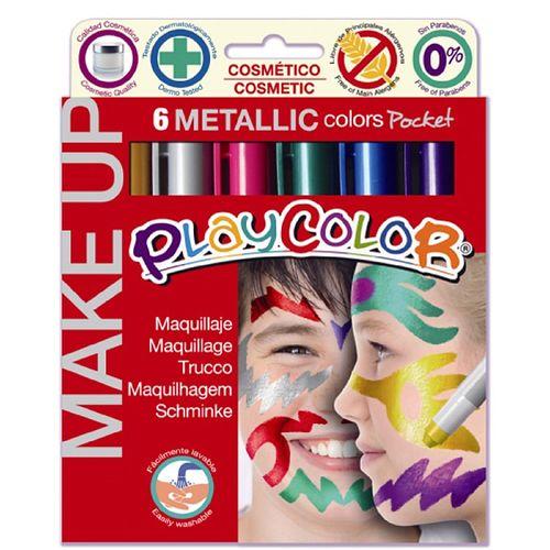 Set tempera Dunsa solida pentru picturi pe fata, 6 culori metalizate