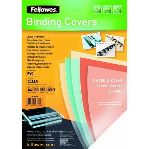 Coperti plastic Fellowes, A4, 150 microni, transparent, 100 bucati/top