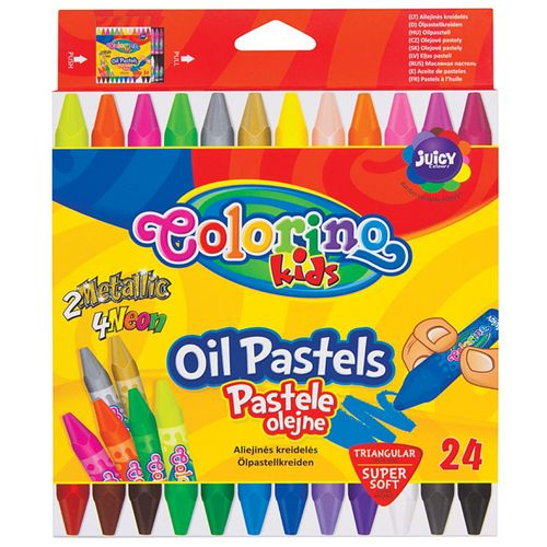 Set creioane cerate Colorino, triunghiulare, 24 bucati