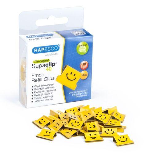 Clipsuri metalice Rapesco Supaclip Emoji, 40 coli, 100 bucati /cutie