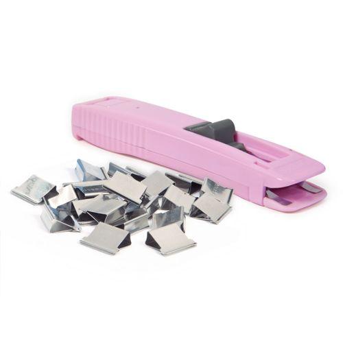 Dispenser clipsuri Rapesco, 40 coli, roz fondant plus 25 clipsuri