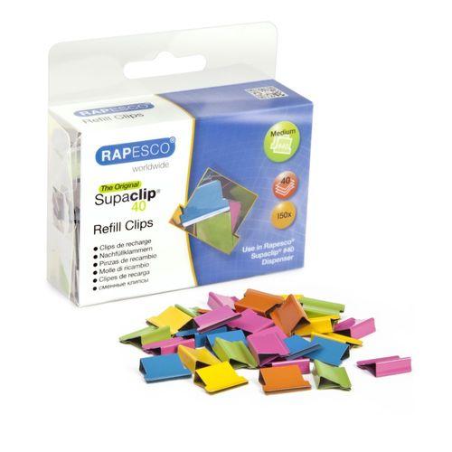 Clipsuri metalice Rapesco Supaclip, pentru dispenser, 40 coli, diverse culori, 150 de bucati/set