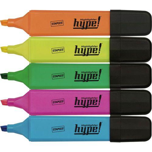 Textmarker Staples, fluorescent, 5 mm, 5 bucati/set