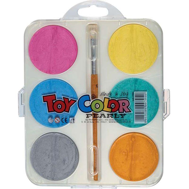 Set-acuarele-Toy-Color-perlate-6-culori