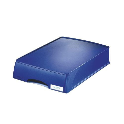 Tavita documente Leitz Plus, cu sertar, albastru