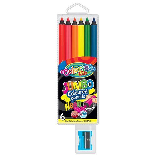 Set creioane colorate si ascutitoare Jumbo Colorino, 6 bucati