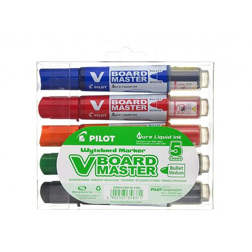Marker pentru tabla Pilot Vboard Master, varf rotund, 2.3 mm, 5 bucati/set