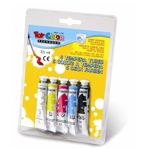 Tempera la tub Toy Color, 7.5 ml, 5 culori