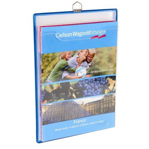 Display Tarifold, A4, vertical, cu buzunar PVC, 5 bucati/set albastre