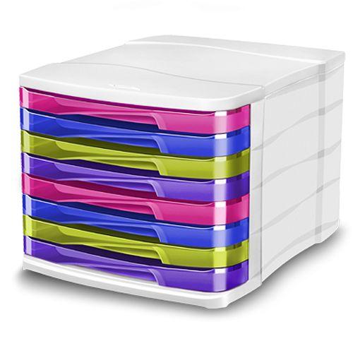 Suport documente CEP Happy, cu 8 sertare, multicolor