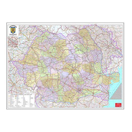 Harta Romania administrativa, 100 x 140 cm, scara 1:570000