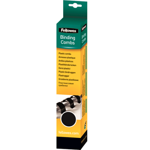 Spire de plastic Fellowes, 10 mm, 100 bucati/set, negru