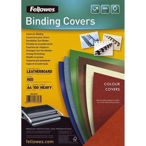 Coperti carton Fellowes A4, 250 gr, imitatie piele, rosu, 100/top