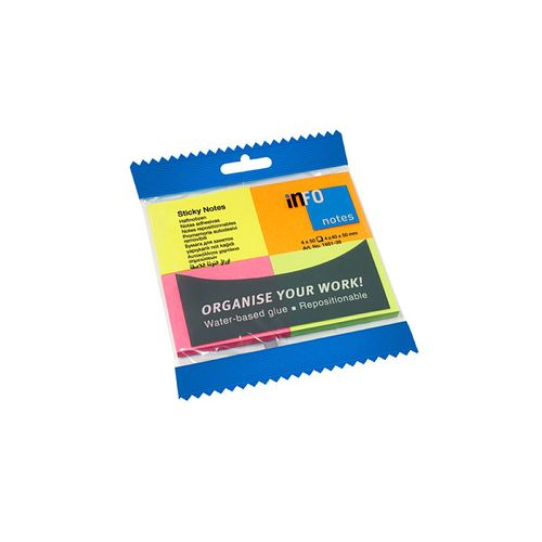 Notite adezive Info Notes,  40 x 50 mm, 4 culori
