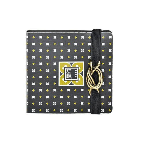 Notite adezive Make Notes, cu coperta si elastic, auriu
