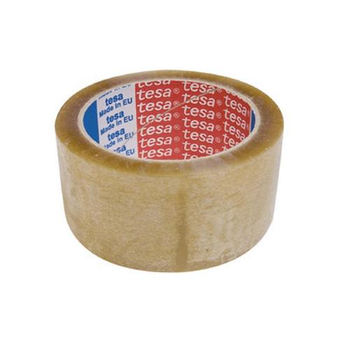 Banda adeziva cu solvent Tesa, 48 mm x 66 m, transparent