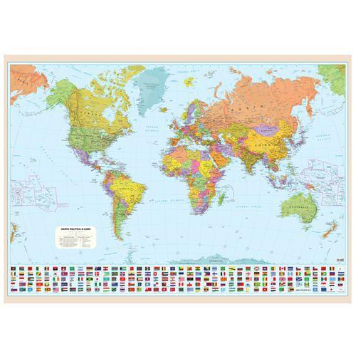 Harta politica a lumii, 100 x 140 cm, scara 1:30 mil, bagheta metalica