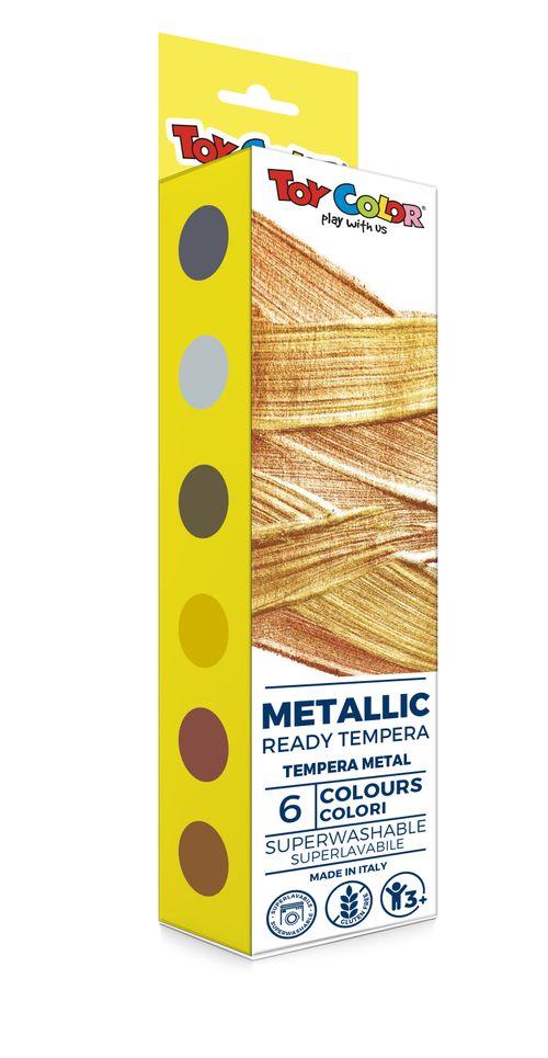 Tempera culori metalizate Toy Color, 25 ml, 6 culori