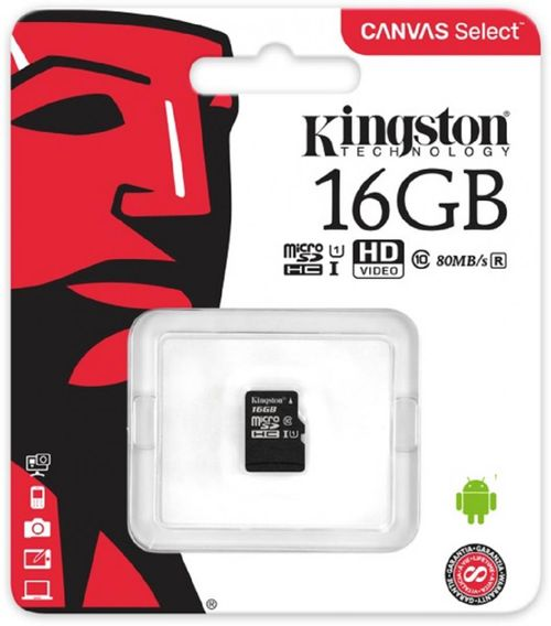 MicroSDHC Kingston, 16GB, Canvas Select 80R, Clasa 10 UHS-I, R/W 80/10 MB/s, fara adaptor SD