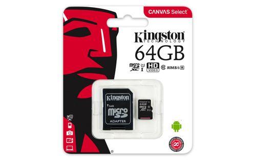 MicroSDXC Kingston, 64GB, Canvas Select 80R, Clasa 10 UHS-I, R/W 80/10 MB/s, adaptor SD