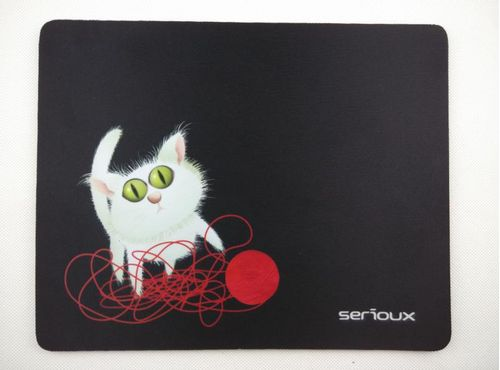 Mouse pad Serioux, model Cat and ball of yarn, MSP01, suprafata textila, baza cauciucata, 250*200*3mm