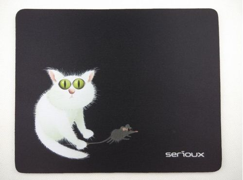 Mouse pad Serioux, model Cat and mice, MSP02, suprafata textila, baza cauciucata, 250*200*3mm