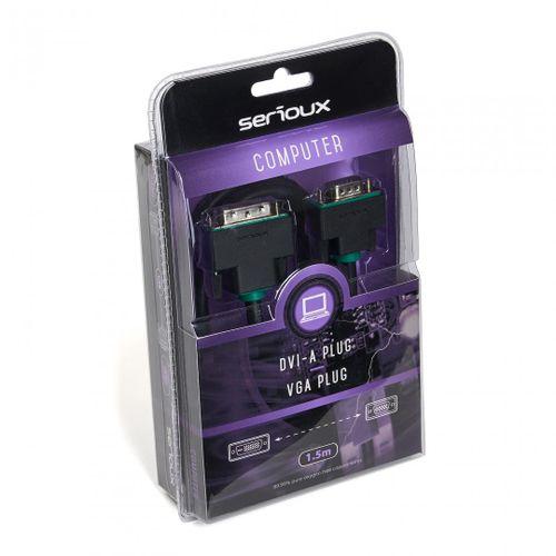 Cablu video Serioux, DVI-A tata - VGA tata, conductori 99.99% cupru fara oxigen, conectori auriti, 1.5m, negru