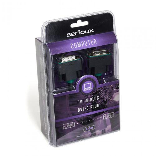 Cablu video Serioux, DVI-D tata - DVI-D tata, conductori 99.99% cupru fara oxigen, conectori auriti, 2m, negru