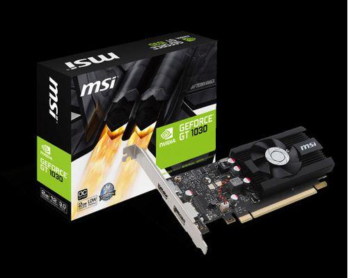 Placa video MSI NVIDIA GeForce GT 1030 2G LP OC, 2GB GDDR5, 64-bit, PCI Express 3.0 x16, Core Clocks: 1518 MHz / 1265 MHz, Memory Clock: 6008 MHz, 1*