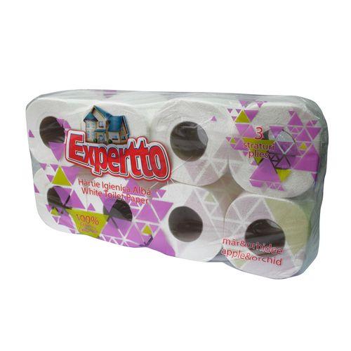 Hartie igienica parfumata Expertto, 3 straturi, 8 role/set