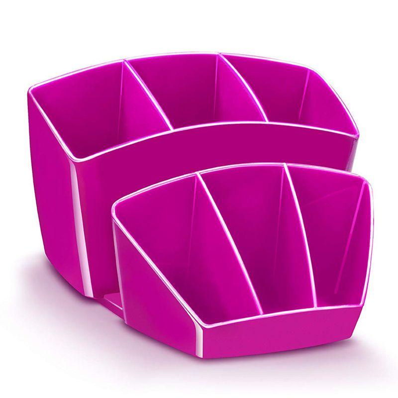 Suport-instrumente-de-scris-CEP-Gloss-cu-8-compartimente-roz