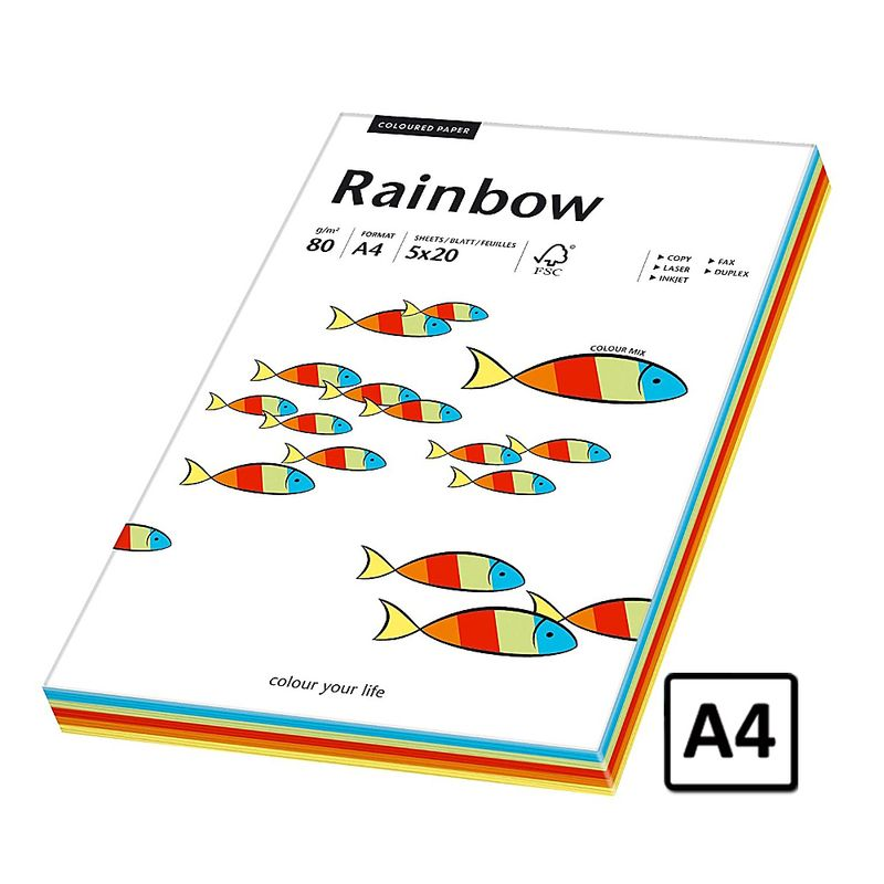 Hartie A4 Rainbow, 80 g/mp, 100 coli/top, 5 culori intens