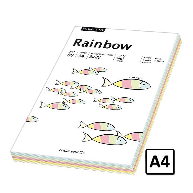 Hartie A4 Rainbow, 80 g/mp, 100 coli/top, 5 culori pastel