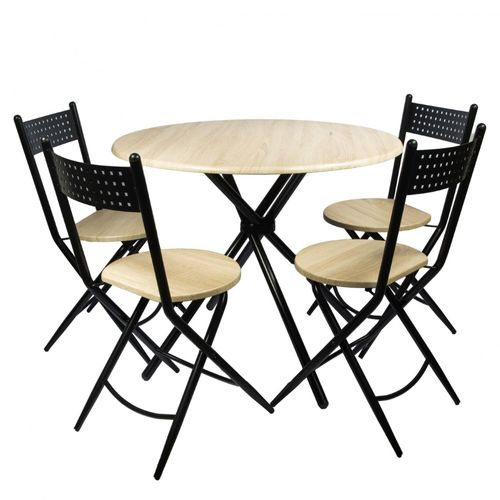 Set masa Kaliope + 4 scaune pliabile, natur