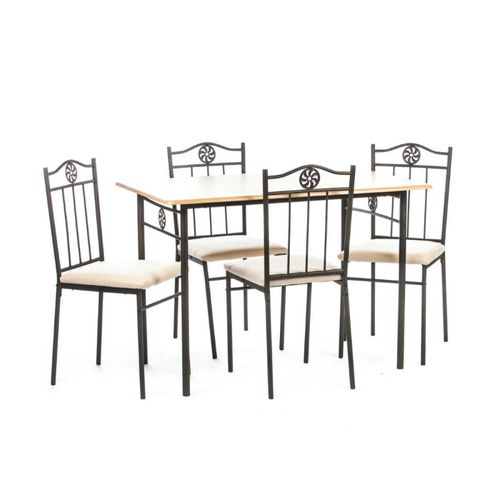 Set masa Victory + 4 scaune, MDF, natur
