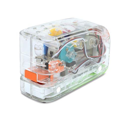 Capsator electric/usb transparent Rapesco, 15 coli